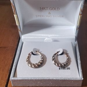 14kt gold and sterling silver hoops